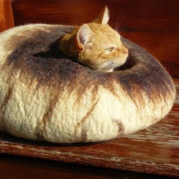 Felted Cat Bed / Cat Cave / Cat Den / Cocoon / Cat House / With blends of white and brown plus GIFT