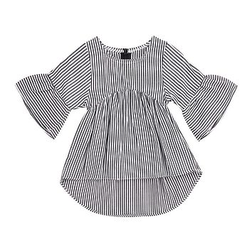 Baby Girl Dress Autumn 2018 Flare Sleeve Baby Dress for Party Holiday Black White Striped Children Kid Fashion Clothes for Girls
