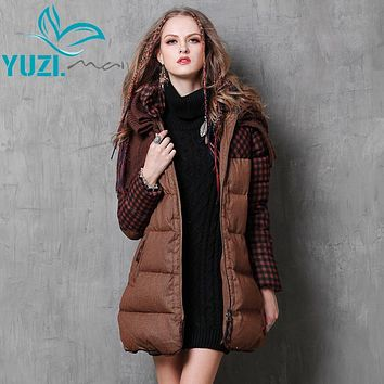 Down Coat 2017 Yuzi.may Boho New 90% White Duck Jacket For Women Poncho Plaid Patchwork Warm Belted Long Thicken Parka B9553