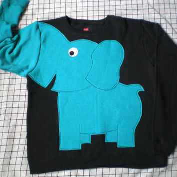 BRIGHTS on Black Elephant Trunk sleeve sweatshirt sweater jumper LIMITED Ladies S,M,L