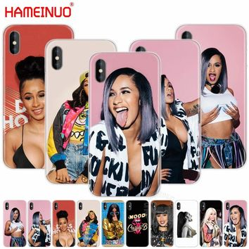 HAMEINUO funny girl Cardi B cell phone Cover case for iphone X 8 7 6 4 4s 5 5s SE 5c 6s plus