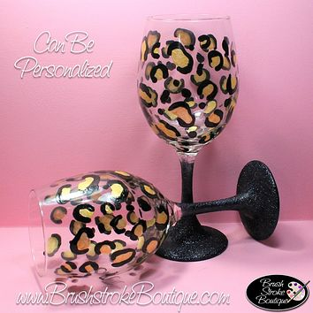 Hand Painted Wine Glass - Leopard Print - Original Designs by Cathy Kraemer