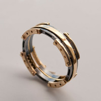 Gold Wedding Band, Men's 14K Gold and Oxidized Silver Wedding band, Wedding ring, black and gold ring