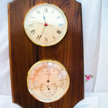 Vintage Hampton  Quartz Clock And  Thermometer  Wood  Made in Germany
