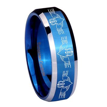 8MM Shiny Blue Irish Claddagh Bevel Edges 2 Tone Tungsten Laser Engraved Ring