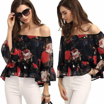 Floral Print Off The Shoulder Sheer Chiffon Casual Spring Blouse