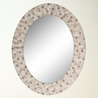 Travertine Mosaic Oval Mirror (8668) - Illuminada
