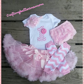 First Birthday Girl Pink Chevron Outfit - Pettiskirt - Tutu - Leg Warmers - Set - First Birthday  Photo Outfit - Photo Prop - Headband Baby