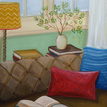 Original Oil Painting, Oil, Still Life Painting, Home Interior Painting, Window View, Wall Art, Sofa Painting, 9x12 Stretched Canvas