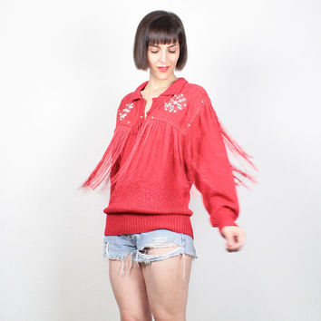 Vintage 80s Sweater RED Jumper New Wave 1980s Pullover Western FRINGE Trim Gem Studded Southwestern Lace Hipster Slouch Fit Sweater M Medium