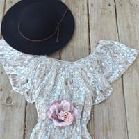 Off  shoulder lace top, Romantic shabby cottage chic clothes, Bohemian music festival clothes, Country chic ruffle top, True rebel clothing