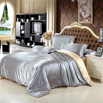 Cool Satin Silk Bedding Set Solid Gray Blue Color Polyester Duvet Cover Bed sheet Pillowcase Full Queen King Size Girls Bedding SetsAT_93_12