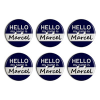 Marcel Hello My Name Is Plastic Resin Button Set of 6
