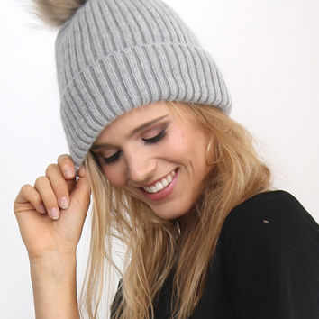Linda Richards Fur Pom Beanie - Grey