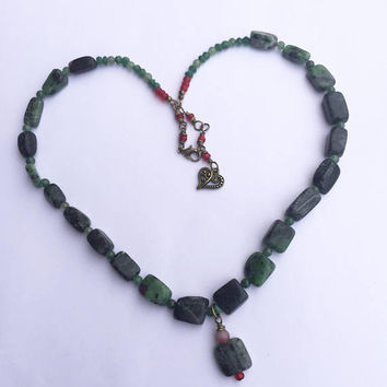 Ruby in Zoisite Necklace, Healing Gemstone Dark Green Necklace, Chunky Necklace, Boho Beaded Necklace with Green Aventurine