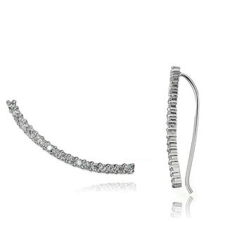 Sterling Silver Cubic Zirconia Curved Crawler Climber Hook Earrings, 3 Colors