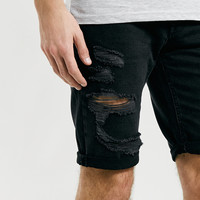 Black Ripped Denim Shorts - Topman