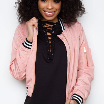 New Wave Bomber Jacket - Blush