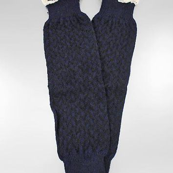 Two Tone Checker Pattern Knit w/Lace Boot Cuffs