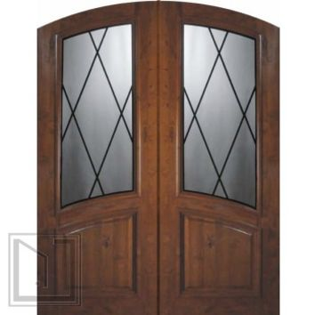 Slab Double Door 96 Wood Alder Sandringham Arch Top Arch Lite Glass
