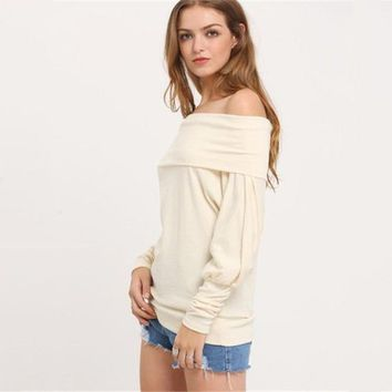 Women Fashion Solid Color Loose boat neck Long Sleeve t-shirt