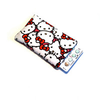 Birth Control Pill Case, Credit Card Sleeve, Slim Wallet - Kitty With Bow