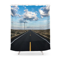 """Society6 """"The Open Road"""" Shower Curtain"""