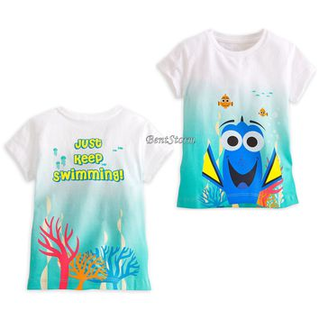 Licensed cool Finding Dory Dip Dyed Tee for Girls Nemo Keep Swimming Disney Store 2/3-10/12