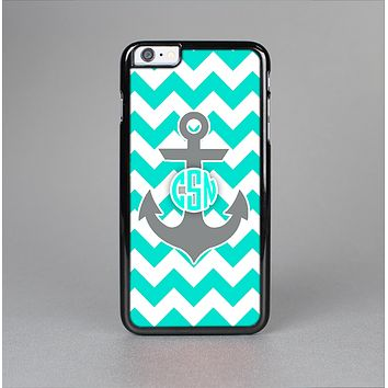 The Teal Green and Gray Monogram Anchor on Teal Chevron Skin-Sert Case for the Apple iPhone 6