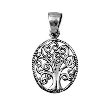 Sterling Silver Oval Family Tree of Life Heart Infinity Swirl pendant (Yggdrasil)