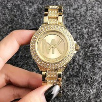 Michael Kors MK Fashion 2018 New Ladies Men Personality More Diamond Ceramic Belt Quartz Movement Watches Wristwatch Gold
