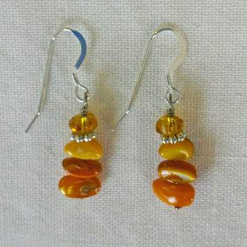 Multi-colored drop square stone earrings