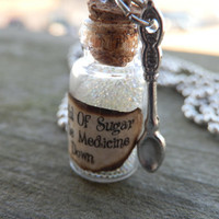 A Spoonful Of Sugar Mary Poppins Inspired Glass Pendant Necklace