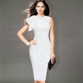 2015 New Womens Celebrity Retro Elegant Ruffle Sleeve Ruched Party White/Black Evening Prom Fitted Stretch Wiggle Pencil Sheath Dress  [9221266308]