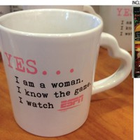"Downtown Disney ESPN ""Yes...I am a Woman, I Know the Game, I Watch ESPN"" Coffee Mug - Limited Availability + Single Pack Arabica Coffee Included"