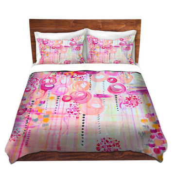 COLORFUL Fine Art Duvet Covers, Bubblegum Pop Pretty Pink, Home Decor Bedding King Queen Twin Cheerful Clouds Whimsical Girly Sky Bedroom