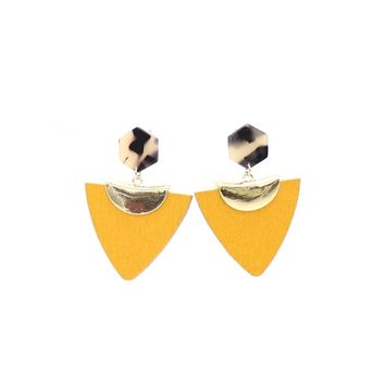 2018 new alloy cut triangle wood geometric resin earrings for women