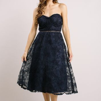 Karina Navy Lace Top and Dress Set