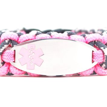 275 Paracord Bracelet with Engraved Oval Stainless Steel Medical Alert ID Tag - Light Pink