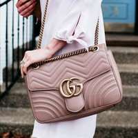 Gucci Fashion Women Leather Shopping Leisure Crossbody Bag Shoulder Bag Bag Sequin Satchel  Khaki