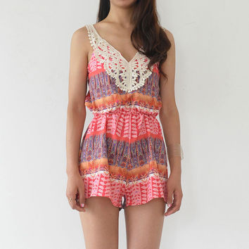 Printed Strappy Sleeveless Lace Applique V Neck Romper