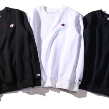 Plus cashmere embroidered round neck men and women couples sweaters