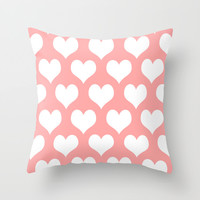 Coral Pink Hearts of Love Throw Pillow by BeautifulHomes   Society6