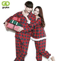 ONETOW GOPLUS 2017 Autumn Winter Classic red plaid Cotton Couple Pajamas Sets of Lover Vacation Sleepwear Family Casual Home Clothing