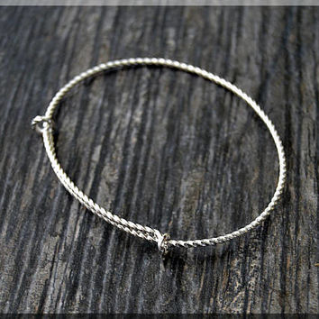 Sterling Silver Twist Expandable Bangle Bracelet, Adjustable Bangle, Twisted Wire Bangle,  Charm Bracelet, Charm Jewelry, Handmade Bangle