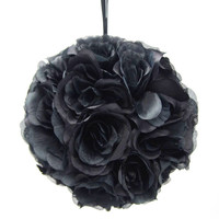 Flower Kissing Balls Wedding Centerpiece, 10-inch, Black
