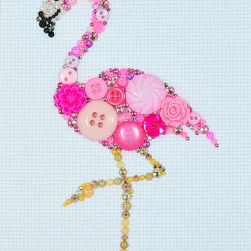 Button Art - Pink Flamingo - Vintage Button Art, Wall Hanging, Wall Art, Home Decor, Flamingo Art, Button Mosaic