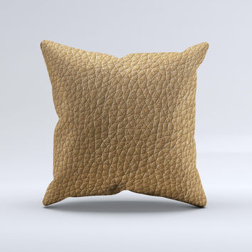 Light Tan Leather  Ink-Fuzed Decorative Throw Pillow
