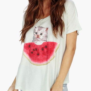 White Watermelon Kitty Print Loose T-shirt