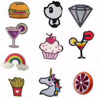 DIY Unicorn Rainbow Patch Food Kids Iron On Cartoon Patches For Clothes Stickers Custom Cheap Embroidered Cute Patches Applique